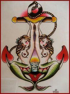 Mermaids & Anchor Tattoo
