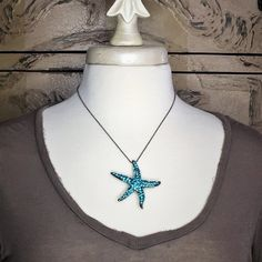 Evelyn Hope aqua Starfish necklace/pin, beach jewelry,beach wedding bouquet pin is one of our signature pieces. Starfish Necklace, Turquoise Necklace, Bridesmaid Jewelry, Bridesmaids, Beach Wedding Bouquets, Elastic Hair Bands, Summer Bags, Beach Jewelry, Aqua