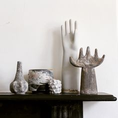 Mantelpiece still life. Julie Nelson ceramic hand and vessels, vintage ceramic glove hand and Sam Hall pot. Mantelpiece still life. Julie Nelson ceramic hand and vessels, vintage ceramic glove hand and Sam Hall pot. Ceramic Decor, Ceramic Clay, Ceramic Pottery, Pottery Teapots, Hand Sculpture, Pottery Sculpture, Ceramic Sculptures, Cactus 2, Julie Nelson