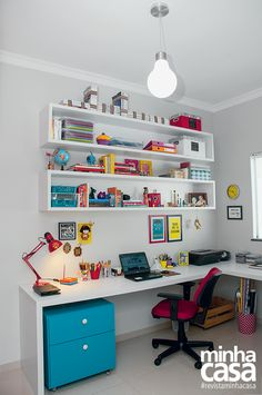 You won't mind getting work done with a home office like one of these. See these 20 inspiring photos for the best decorating and office design ideas for your home office, office furniture, home office ideas Home Office Design, Home Office Decor, House Design, Home Decor, Office Desk, Office Designs, Office Chairs, Office Furniture, Office Shelving