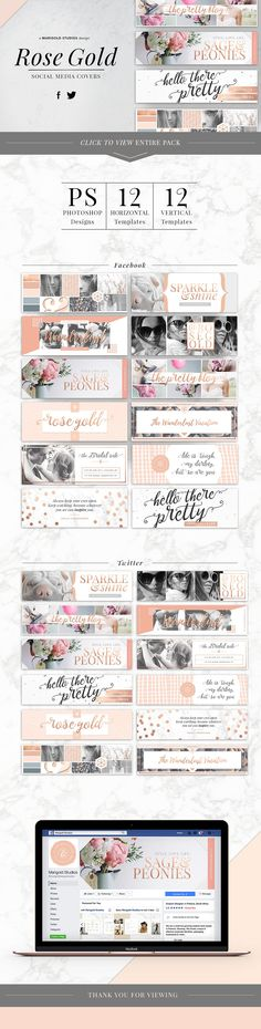 ROSE GOLD | Social Media Covers by Marigold Studios on @creativemarket