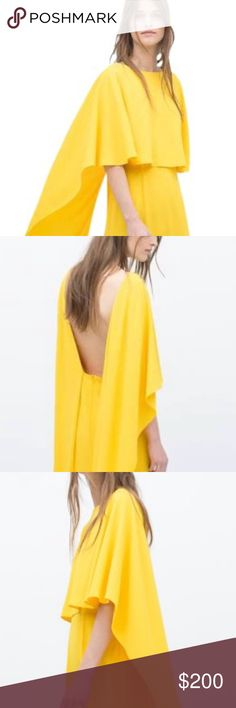 Zara Dress Zara Yellow Back Open Dress Zara Dresses