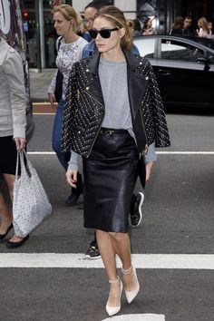 Hack Invest embellished moto jacket come handy | 42 Fall Styling Hacks So Good, They Could Only Be Invented by Olivia Palermo | POPSUGAR Fashion Photo 35