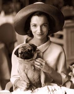 Caroline Lee Bouvier Radziwell and pug; Princess Lee Radziwell; Lee Radziwell; Jacqueline and C. Lee Bouvier, sisters
