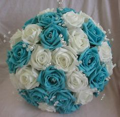 Turquoise Wedding Flowers | ARTIFICIAL TURQUOISE/WHITE FOAM ROSE WEDDING BOUQUET | eBay