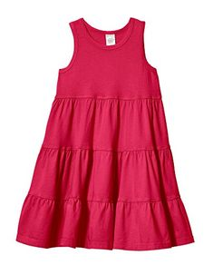 City Threads Big Girls Super Soft Cotton Tank Tiered Dress for School Park Play and Party Candy Apple 4T *** Check this awesome product by going to the link at the image.Note:It is affiliate link to Amazon.