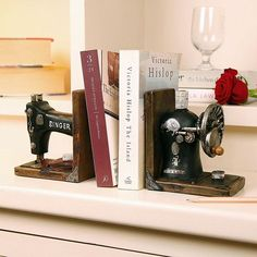 Singer sewing machine book ends