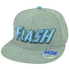 0e376a5e2e4 DC Comics The Flash Wordmark Logo Heather Grey Mens Snapback Flat Bill Hat  Cap