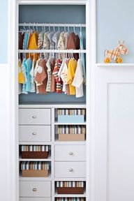 Ditch the closet door! Sliding in modular storage cubes, painting the closet wall, and hanging cuter-than-cute baby clothes makes this closet too cool to hide behind a closed door. Color-coordinated photo boxes keep open shelving shipshape. If you cant keep your kiddos closet this neat, use a tension rod and a fabric curtain to block the view.