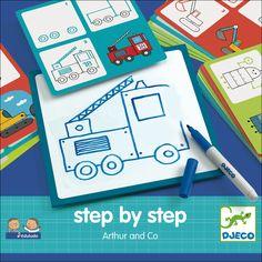 tekenset Arthur & Co 3j step by step Coloring by #Djeco from http://www.kidsdinge.com www.facebook.com/pages/kidsdingecom-Origineel-speelgoed-hebbedingen-voor-hippe-kids/160122710686387?sk=wall http://instagram.com/kidsdinge #Toys #Speelgoed