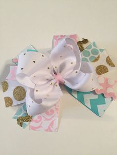 GOLD PINK and Aqua bowOTT bow first birthday by MelleeAndMeBows