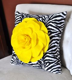 Bright Yellow Rose on Zebra Pillow 14x14 by bedbuggs on Etsy, $33.00