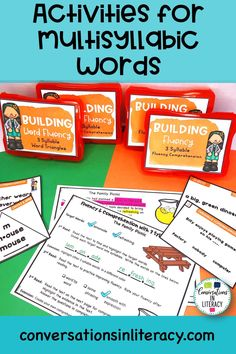 These multisyllabic word activities increase fluency, phonics using bigger words, reading comprehension and vocabulary! Great for struggling readers, reading intervention activities, literacy centers and guided reading time in the elementary classroom.