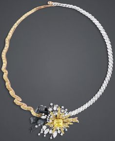 "DIOR. ""Salon d'Apollon"" necklace in white, pink and yellow gold, scorched silver, diamonds and yellow diamonds."