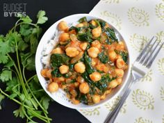 Curried Chickpeas with Spinach