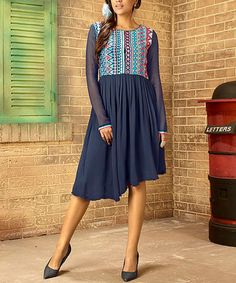 This Navy Blue Embroidered Dress - Women by Vasundhara Fashions is perfect! #zulilyfinds