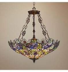 floral garden tiffany glass bowl pendant