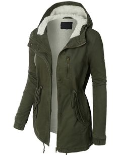 LE3NO Womens Sherpa Lined Anorak Parka Jacket with Hoodie