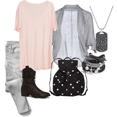 "07-03-2014 Friday ""Roze shirt / grijs vest"" by kaatje60 on Polyvore"