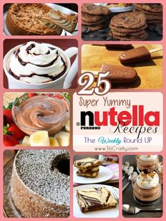 25 Super Yummy Nutella Recipes. The Weekly Round UpNutella Cream Filled Profiteroles by Plain Chicken.Nutella Scone for Club: Baked by Lulu the Baker.3 Ingredients Nutella Muffins/Brownie by the Creative Saga.by Cami @ TitiCrafty.com