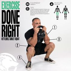 Practice good technique to properly exercise glutes and quads during kettlebell goblet squats.