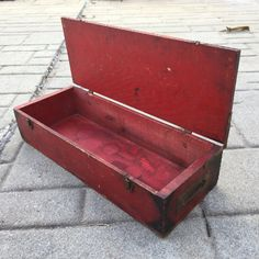 Primitive Tool Chest with Lid Rustic Wooden Box Red by ravished