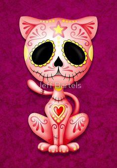 'Purple Zombie Sugar Kitten Cat' Art Print by jeff bartels Sugar Skull Cat, Sugar Skulls, Desenhos Love, Image Chat, Day Of The Dead Skull, Cat Art Print, Wow Art, Cat Tattoo, Skull Art