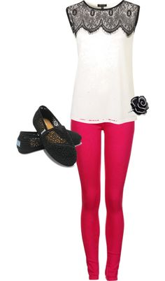 """Lace and Pink Outfit"" by malzorox on Polyvore - cute outfit, but I would not wear Toms with it..."