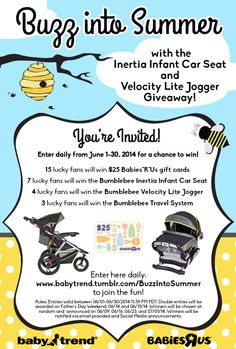 Buzz into Summer with the Baby Trend Inertia Infant Car Seat and Velocity Lite Jogger Giveaway!