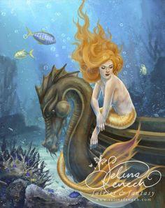 Mermaid Sunlit Seas Portfolio @ Selina Fenech – Fairy Art and Fantasy Art Gallery Mermaid Fairy, Mermaid Tale, Fantasy Mermaids, Mermaids And Mermen, Magical Creatures, Fantasy Creatures, Project Mermaid, Dragons, Mermaid Artwork