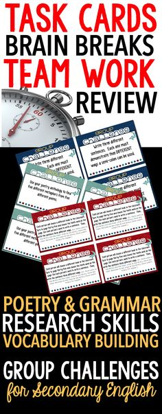 Middle and High School English Teachers: use these task cards for ...