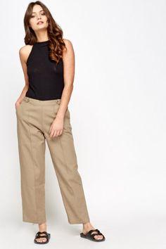Khaki Cropped Cotton Trousers