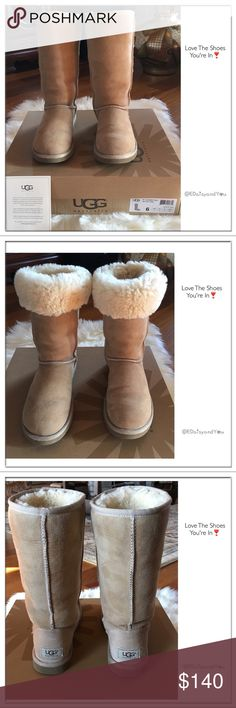 """Classic Tall Ugg Boots These size 6 sand color Classic Tall Ugg have been worn by me and are very good condition. The Classic Tall Ugg are available in whole sizes only. Ugg suggest you order one size down from your normal size. If you wear a half size, Ugg suggest order only 1/2 size down. View photo 8 for free shipping details.  Measurements (approx): Shaft 12"""" from arch, Heel 1"""", Boot opening 15.5"""" around outside, 11 3/4"""" shaft height  🌼No Trade 🌼Don't Forget To Bundle To Save  🌼All…"""