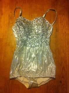 57483c8ab94a4 Vtg CEEB USA Metallic 14 36 silver one Piece Swimsuit 10. Silver One PieceVintage  SwimsuitsBathing ...
