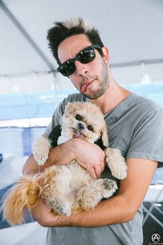 Jack Barakat of All Time Low and Marnie the dog on The Future Hearts Tour. full set- http://adamelmakias.com/live/photos-from-the-future-hearts-tour/