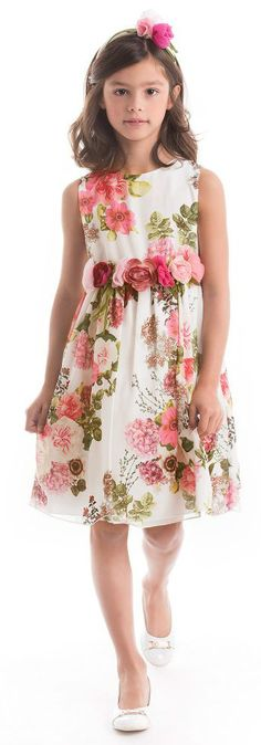 LESY White Designer Floral Chiffon Party Dress from the Spring Summer 2018 Collection. Love this fancy flower printed Lesy dress decorated with beautiful roses.with detachable grosgrain ties. Perfect vintage style party dress for a little princess at any special occasion or wedding. Pretty Style for for stylish kid, tween and teen girls. #kidsfashion #fashionkids #girlsdresses #childrensclothing #girlsclothes #girlsclothing #girlsfashion #cute #girl #kids #fashion