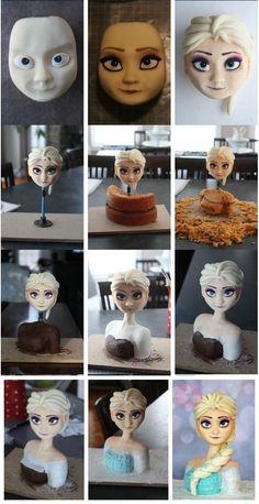 2014 Halloween detail tutorial of frozen Elsa cake - chocolate, disney cake