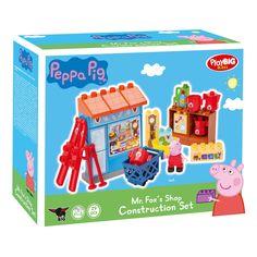 Speel de avonturen van Peppa Pig na in de winkel van Mr. Fox van PlayBIG Bloxx. Plaats de gevel om de bekende winkelstraat uit de serie na te maken. Vul de schappen, pak een boodschappenkarretje en winkelen maar! De set bevat 29 onderdelen waaronder een speelfiguur van Peppa Pig. De blokjes sluiten perfect aan op de PlayBIG Bloxx speelsets en andere bekende bouwstenen, zodat je met Peppa Pig nog tal van andere avonturen kunt beleven! - PlayBIG Bloxx Peppa Pig - Mr. Fox' Winkel