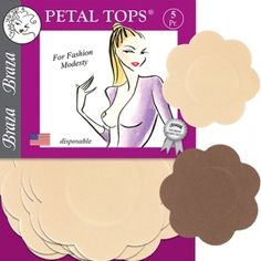 6c5a93a68c323 Disposable Petal Top nipple cover concealers in beige and cocoa Clothing  Tape