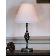 """Hubbardton Forge Twist Basket 16.5"""" H Table Lamp with Empire Shade Finish:"""