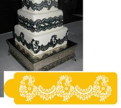This lace pattern measures 3H x 11wide and made out of foodgrade plastic - perfect for a stylish cake. Check out th