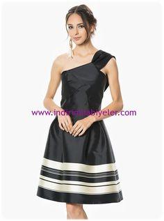 Roman siyah tek omuzlu abiye elbise