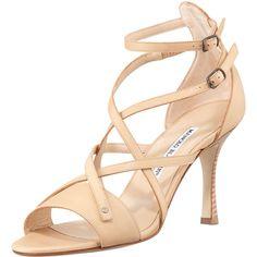 MANOLO BLAHNIK Pugliamo Strappy Leather Sandal, Beige $865