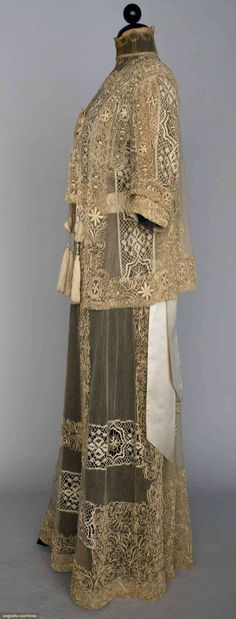 Lace Tea Gown Jacket, C. 1914. Sideways.Tea gowns were supposed to be worn without a corset for comfort without the need for a maid to help dress.