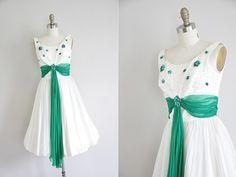 Vintage 1950s cocktail dress/ 50s chiffon dress/ by seaofvintage, $225.00