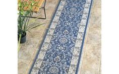 2 X 7 Rug Runner Nuloom Traditional Modern Indoor/ Outdoor Blue Porch Runner Rug (2