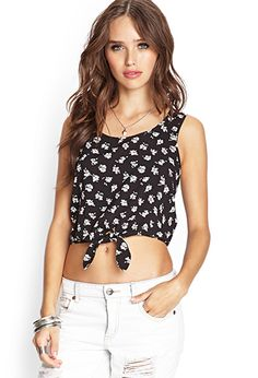 Knotted Floral Crop Top | FOREVER21 - 2000088255