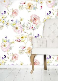 Kristy's most alluring watercolor patterns are now available in wallpaper.  Each pattern is reproduced in glorious detail to replicate the authentic watercolor brushstrokes and textures you would expect to see in an original painting hanging on your wall!- Priced per roll at 24 x 144 inches- Wallpaper finish is a durable smooth matte finishFour patterns are currently available:FLORAL VINE WHITE PATTERN (larger repeat, more waste when matching pattern)An open and airy...