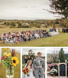 Love the outdoor ceremony. The views are killer! See more from this outdoor fall wedding in Knoxville at @reserveatbbh! Flowers by @samuelfranklins, bridal attire @alfredangelo, formalwear by @savviknoxville, and pics by @jophotos. | The Pink Bride® www.thepinkbride.com