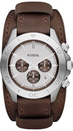 Fossil Watches, Men's Retro Traveler Chronograph Leather Watch - Brown #CH2857